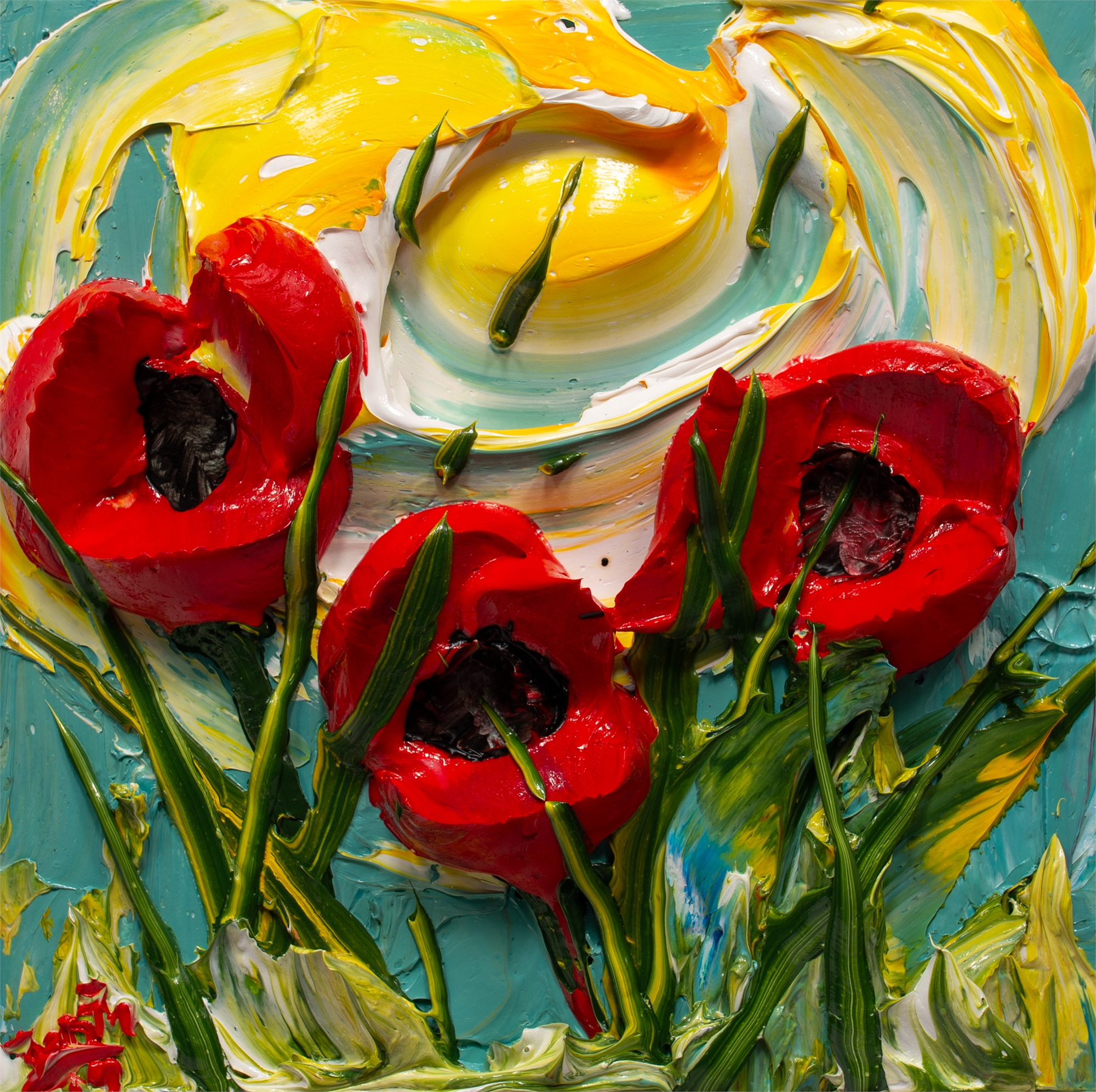 POPPY FLOWERS-PF-12X12-2019-176 by JUSTIN GAFFREY