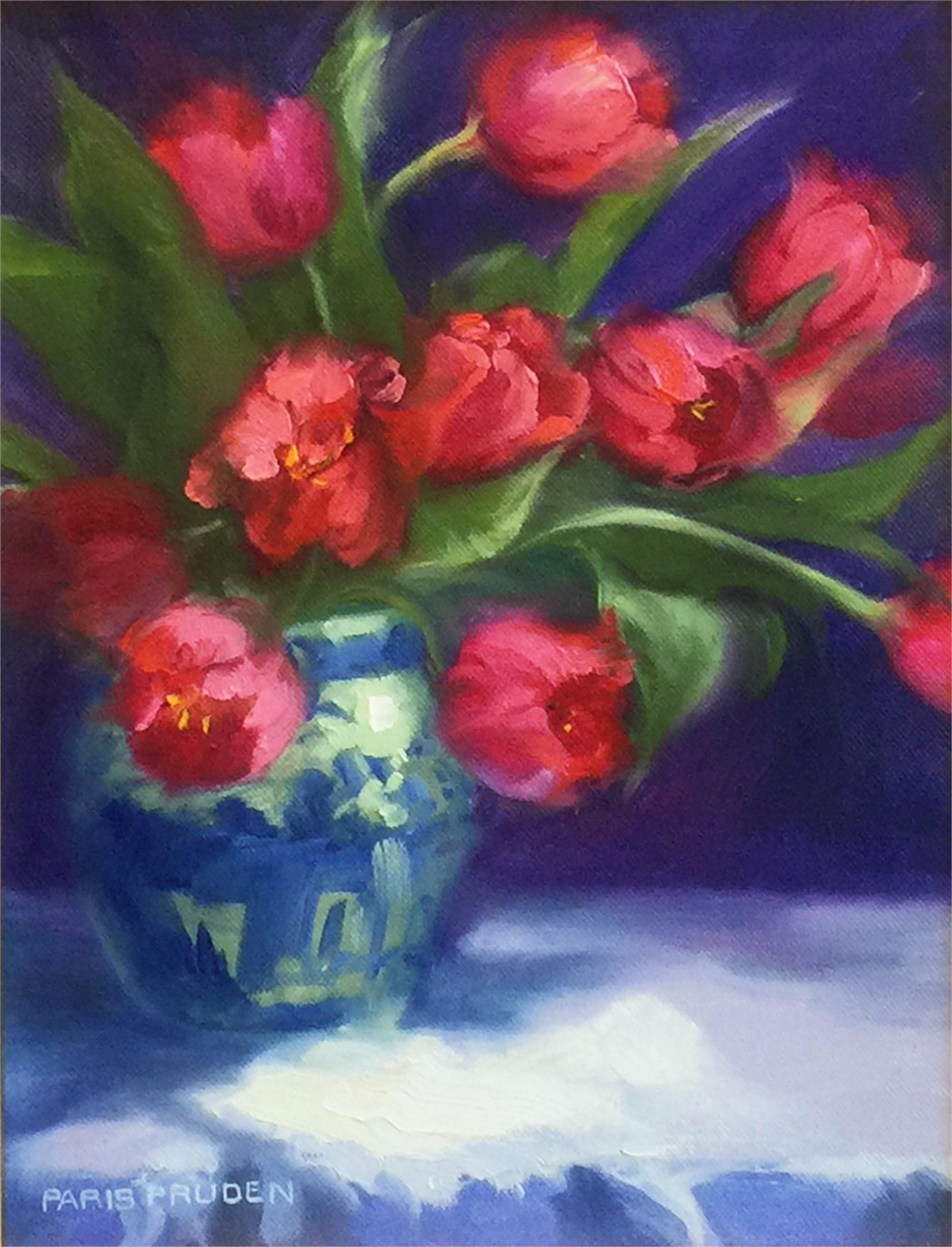 Tulips In Chinese Vase by Nancy Paris Pruden