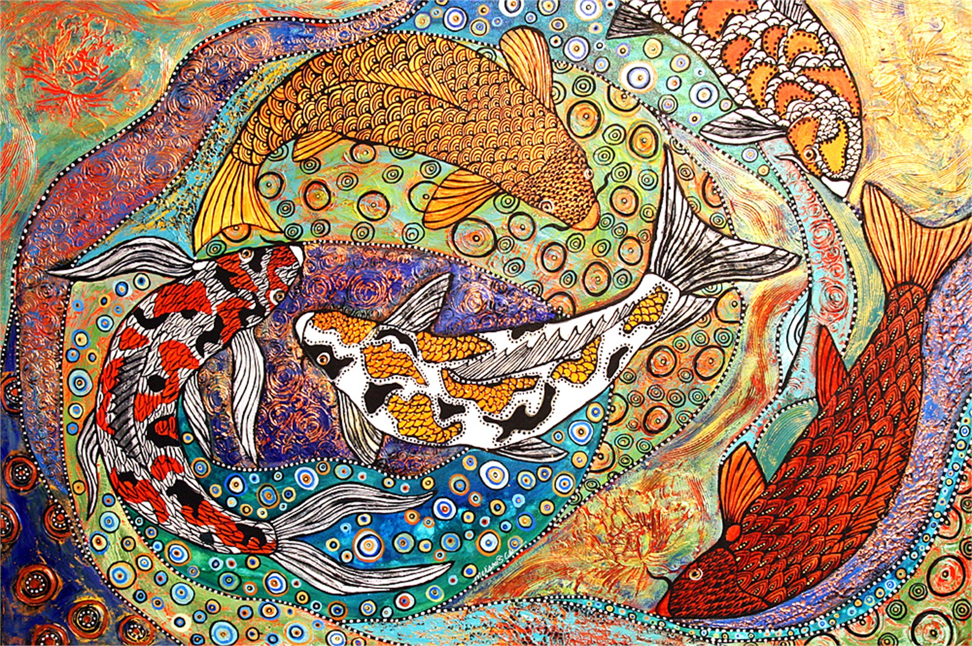 Koi in Gold by Melissa Cole
