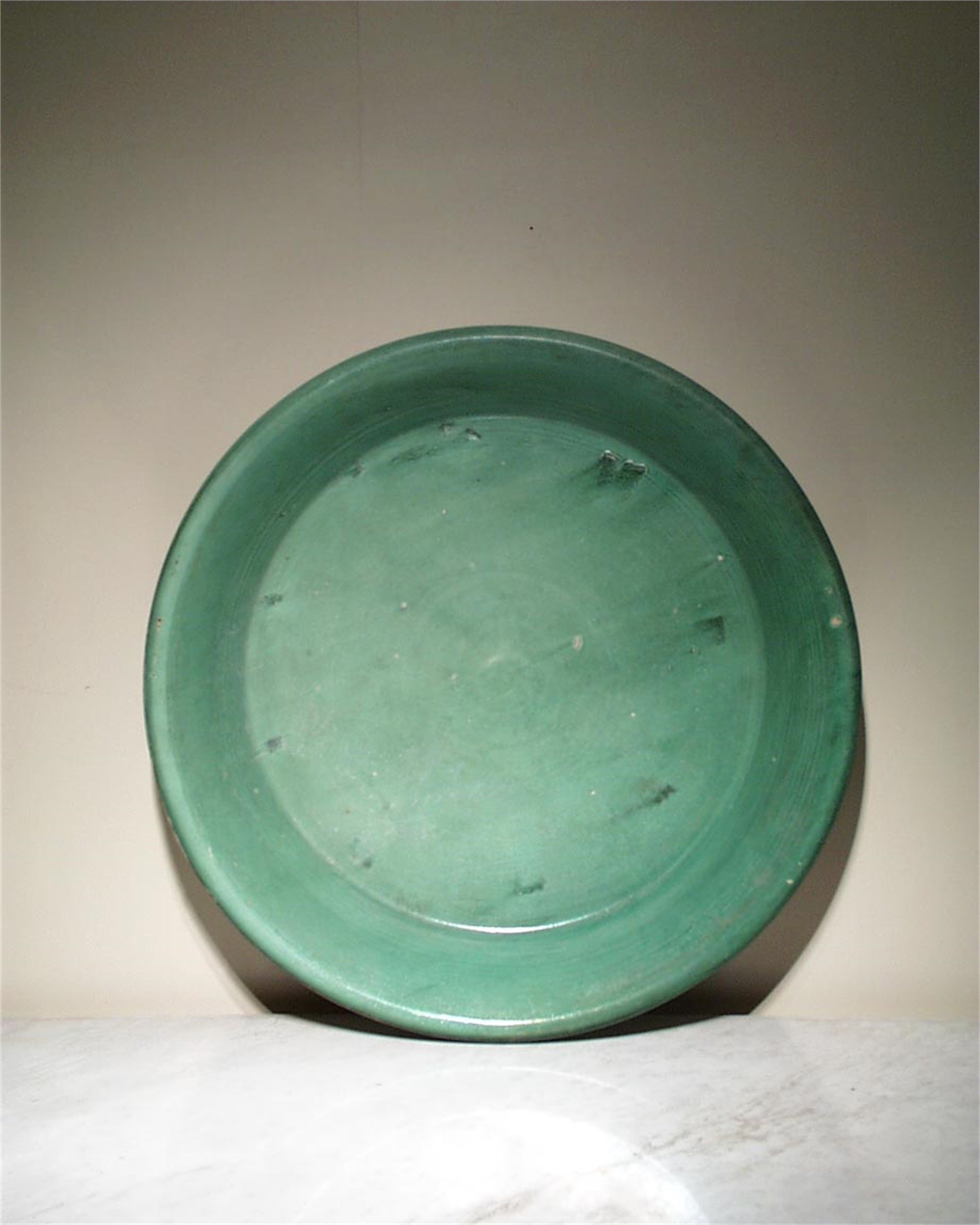LARGE GREEN GLAZED BASIN