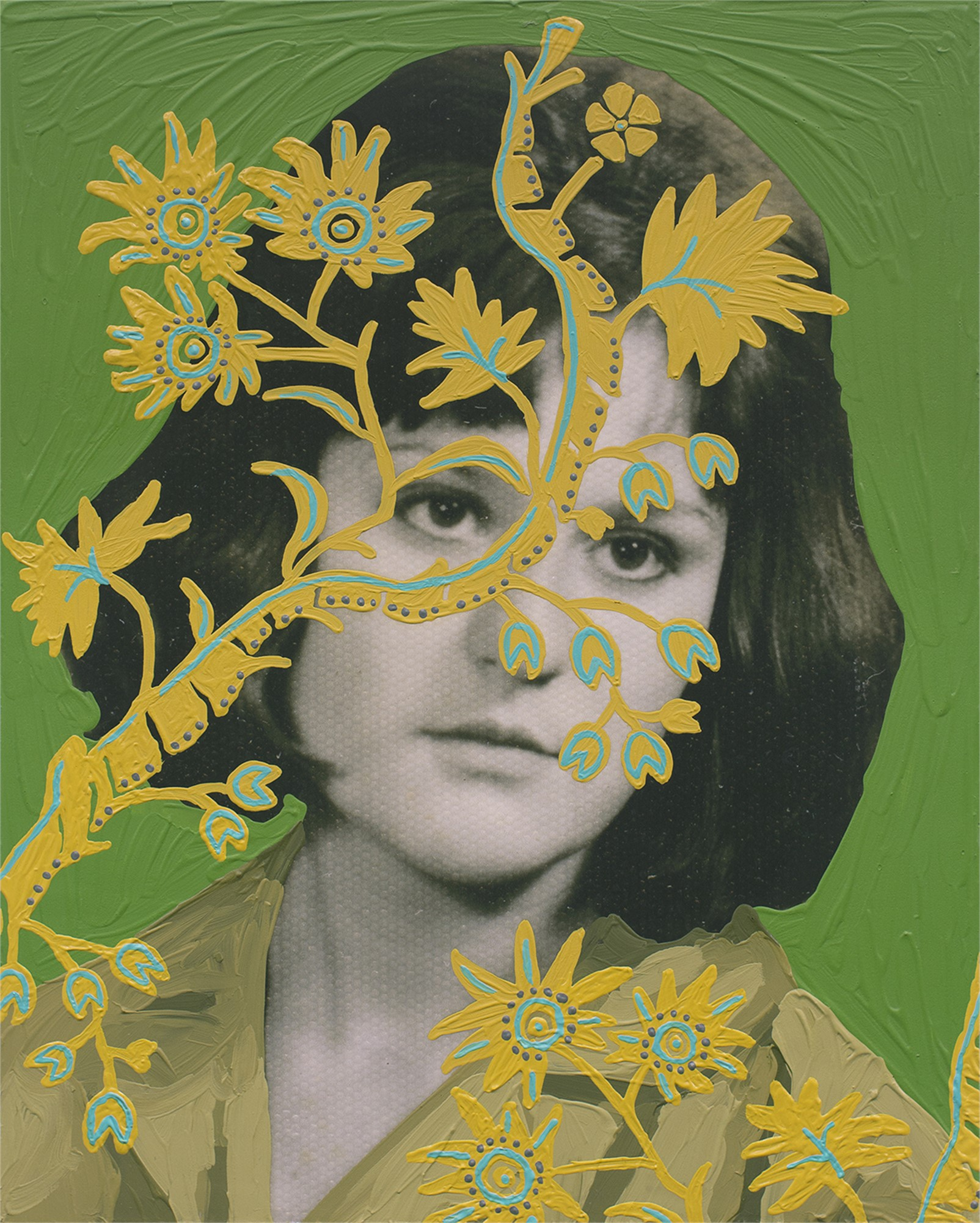 Untitled Woman With Yellow Vines And Green Background By Daisy