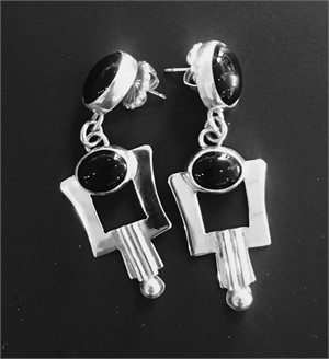 Sterling Black Onyx Double Dangle Post