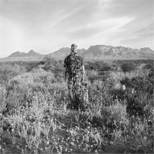 Chisos Portrait with Dog in Marigolds