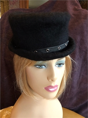 "Black Top Hat With Veil, Leather Grommet ""S"""