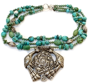 PP1 - 3 Strand necklace w Turquoise, Sterling, melon, Pendent from Tibet, 2019