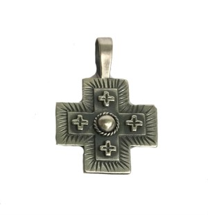 Pendant - Sterling Silver Double Cross with Pearl