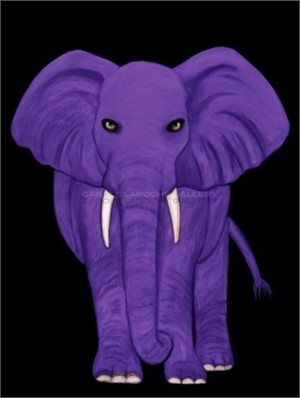 "PURPLE ELEPHANT - limited edition giclee on canvas 54""x40"""