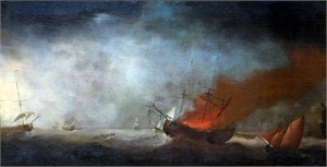 Follower of Francis Holman - Seascape with Burning Ship