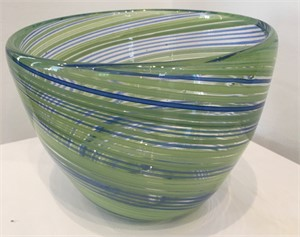 Green Blue & Clear Venetian Striped Bowl Tall
