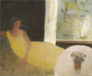 Yellow Dress, Silver Necklace by David Brayne R.W.S.
