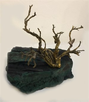 Bronze Sculpture on Petrified Wood-JO#29