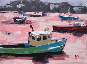 Lobster boats in harbor with pink light