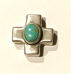 Pendant - Brushed Sterling Silver Cross with Turquoise Oval