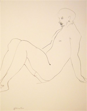 Nude Seated and Leaning Back