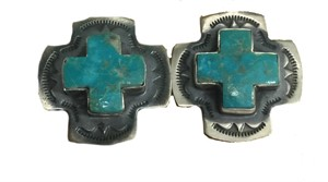 Earrings - Sterling Silver Square Cross With Turquoise