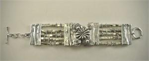 Bracelet - Silver Panels & Glass Bracelet #31531