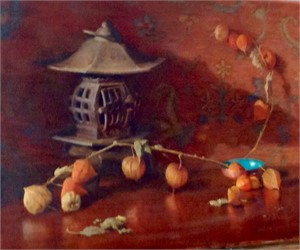 Chinese Lanterns with Antique Pot