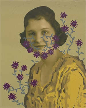 Untitled (Woman with Gray Vines and Mauve Flowers)