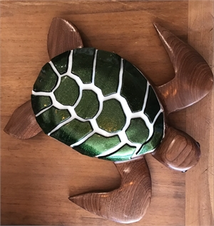 "8.5 "" Cherry Turtle with fused Glass, 2019"