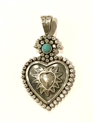 Pendant - Large Sacred Heart with Turquoise