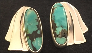 Sterling Tibetan Turquoise Post Earring 269