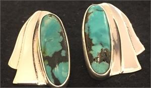 Sterling Tibetan Turquoise Post Earring 269