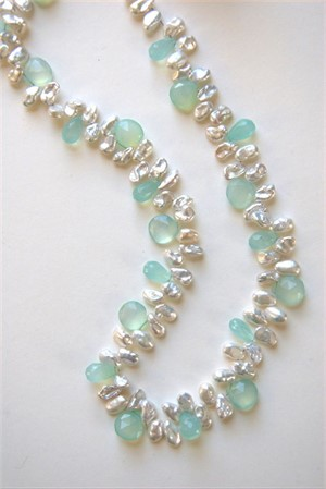 Fresh water pearls and chalcedony, 2019