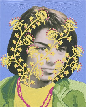 Untitled (Woman with Yellow and Pink Pattern and Blue)