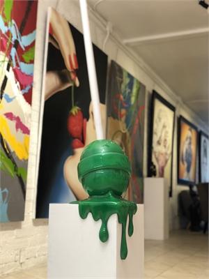 The Sweet Life Med. Green Ombré Corner Drip Lollipop, 2019