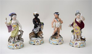 SET OF FOUR CHELSEA PORCELAIN ALLEGORICAL FIGURES OF FOUR CONTINENTS, English, 18th century