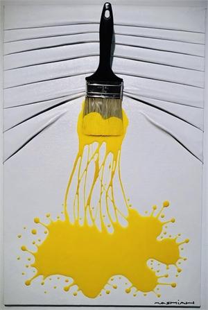 """""""Let's Paint"""" small, Lemon splash on White, 2019"""