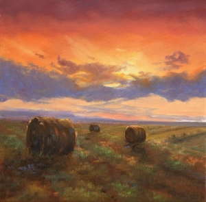 Sun Setting On Hay Field by Nancy Whitaker