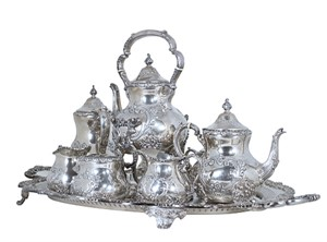 "Sterling Silver Coffee & Tea Service in ""Old English"" Pattern, c.1940s"