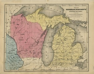Map of Michigan, Wisconsin & Part of Iowa, 1844