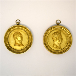 PAIR OF GALLE GILT BRONZE PORTRAIT MEDALLIONS, French, circa 1814