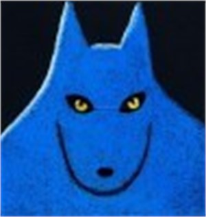 "SINGLE BLUE WOLF - limited edition giclee on paper w/frame size of 21""x21"""