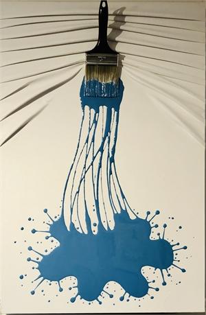 """""""Let's Paint"""" medium, blue splash on White, 2019"""