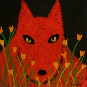 RED WOLF AND POPPIES