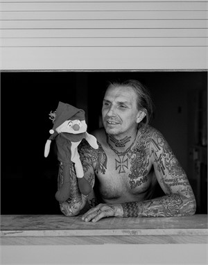 Personal Indian Larry With Puppet BW