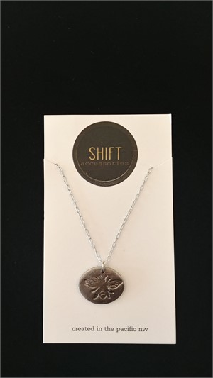 Steel Bee Stamp Necklace, 2019