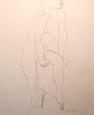 Female Nude with Raised Leg, C. 1960