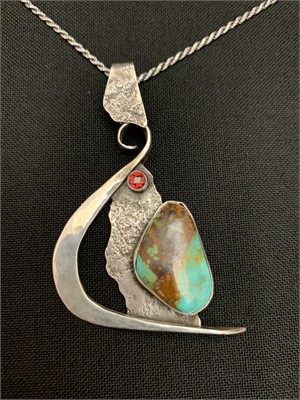 """Pendant - Sterling Sliver, Royston and Red Garnet. 20"""" Sterling Chain.  AS036, 2019"""