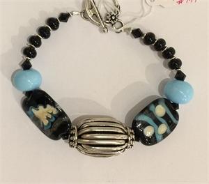 Bracele=t - Lampwork Beads,Black Onyx & Sterling  #747, 2020