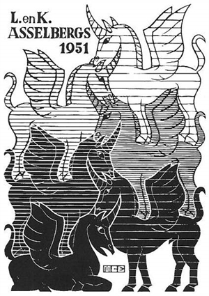 (Unicorns) New Year's Greeting Card -  1951, 1950