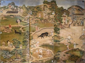 GROUP OF CHINESE WALLPAPER PANELS, Chinese, 18th century