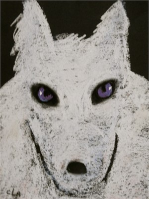 WHITE WOLF WITH PURPLE EYES