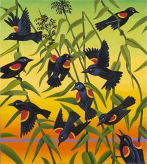 Redwing Blackbirds and Wild Rice