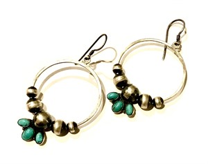 Earrings - Med. Hoops with Sterling Silver Beads and Turquoise