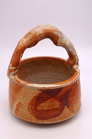 Small Shino Glazed Basket by Larry Peters