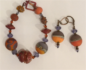 Bracelet & Earrings - Blood Copper, Swarovski Crystals In Purple & Orange  #138, 2020